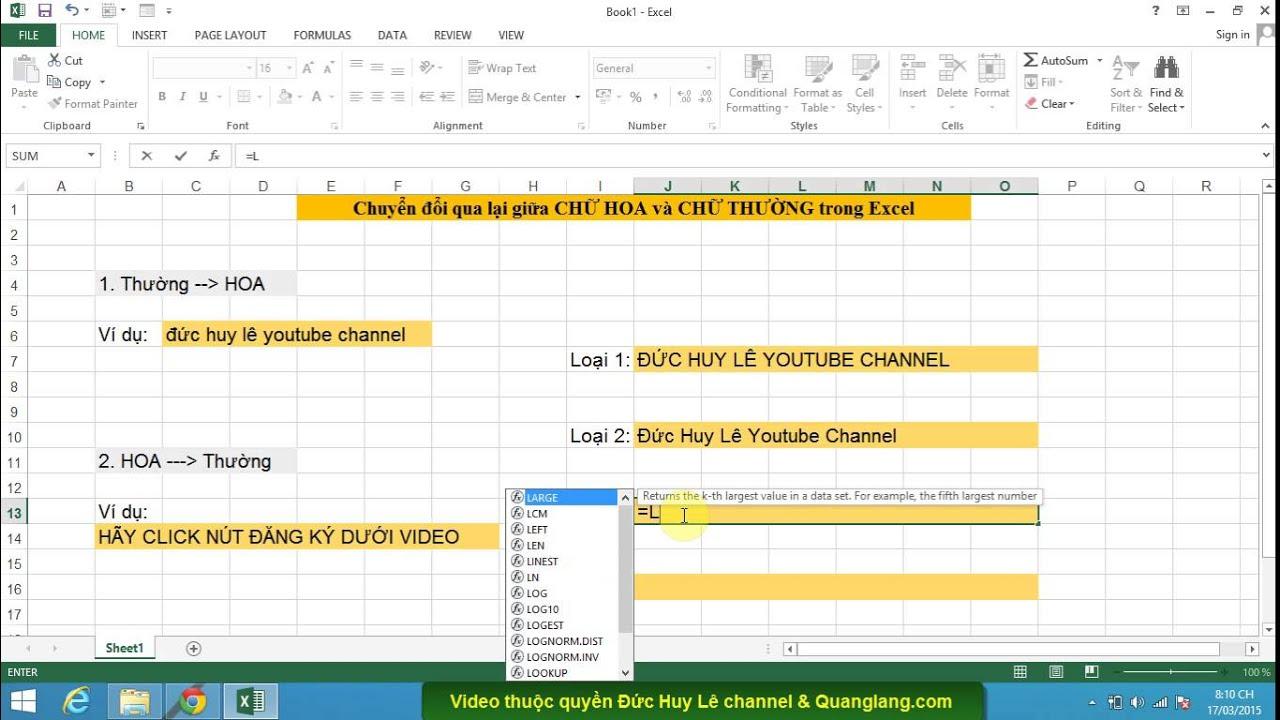Chuyển đổi chữ in hoa, in thường trong Excel