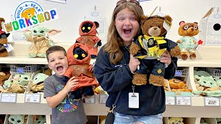 Caleb GOES to BUILD-a-BEAR with his SISTER Aubrey! MAKING STUFFED ANIMALS at BUILD a BEAR Workshop!