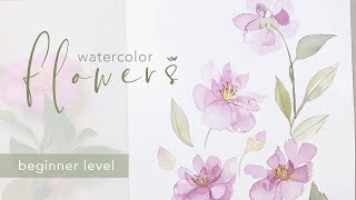 Easy Pink Camellia Flowers - Watercolor painting process