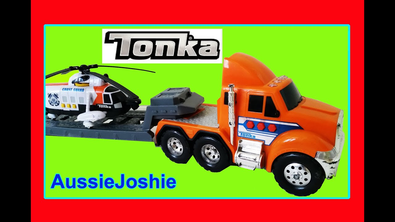 Tonka toy truck video for children big tonka flatbed truck helicopter toys review