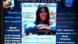 Homenaje A la cantante Cecilia 2º Parte Recital - 1 Octubre 2016