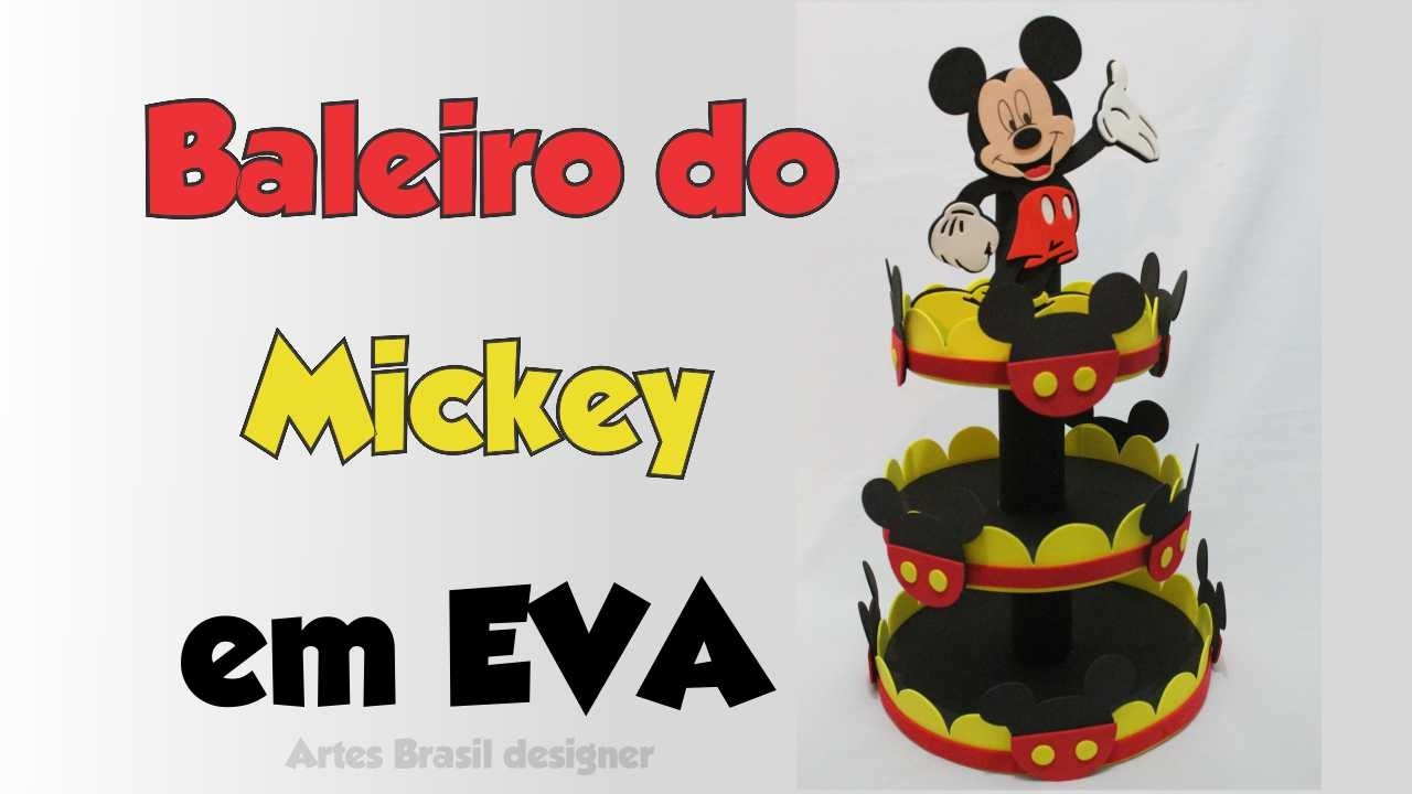 Diy baleiro do mickey de eva e isopor youtube for Mural de isopor e eva