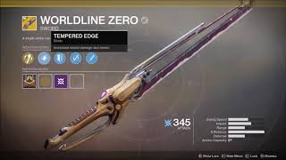 Destiny 2 - Worldline Zero Exotic Sword - How To Get + Preview (35/45 Lost Memory Fragment Reward)