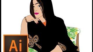 drawing  arab girl with illustrator رسم بنت  بالاليستروتر