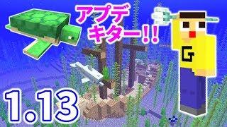 マインクラフト1.13アプデがキタッ!カメにイルカに沈没船にトライデント!!海の要素がたまらんわ!!! thumbnail
