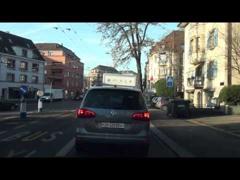 Driving in Zürich Suburbs and downtown/ Switzerland/ 12.2013 HD