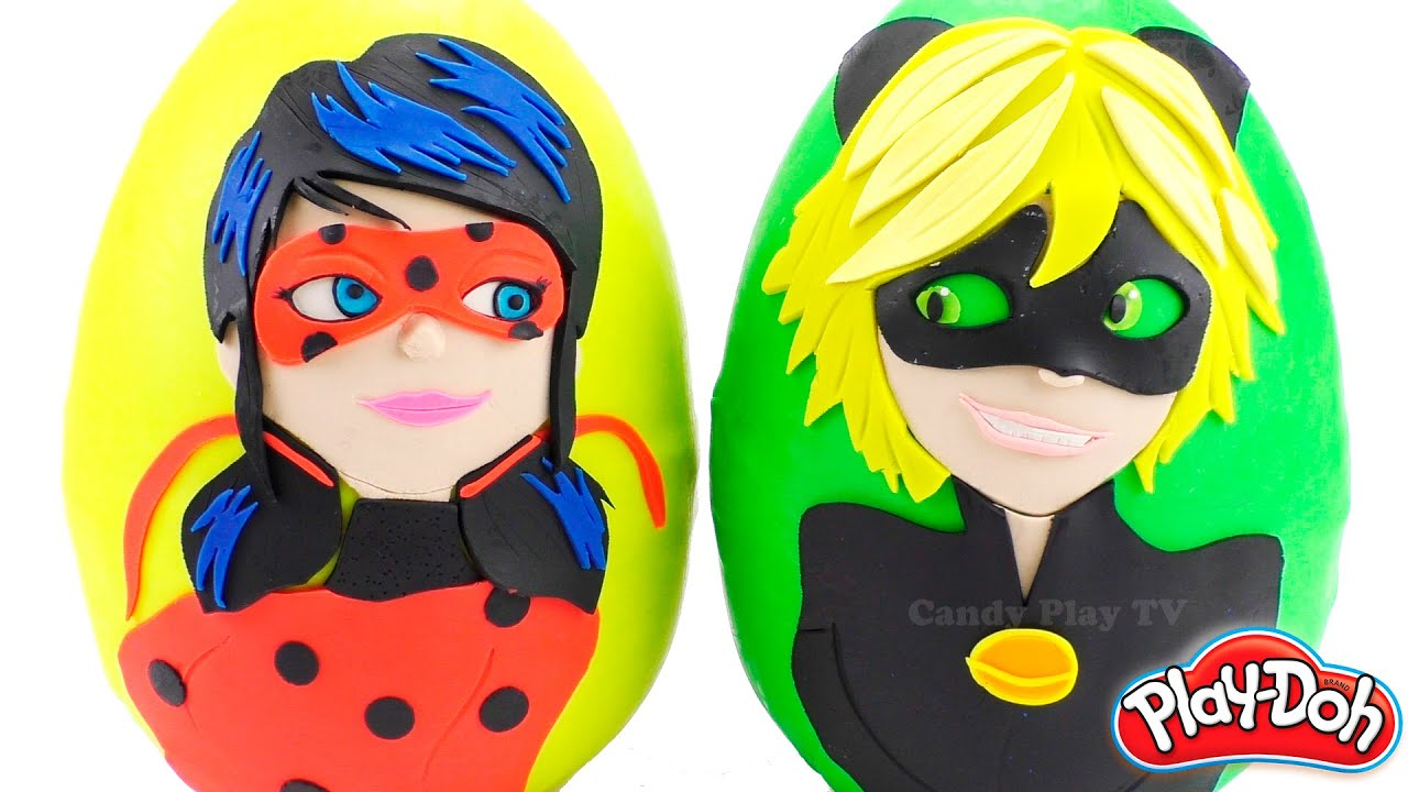Huge Play Doh Surprise Egg with Miraculous:Tales of Ladybug & Cat Noir   Learn Colours with Play-Doh