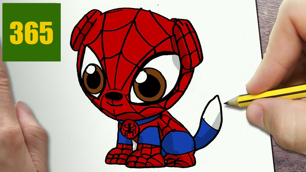 Comment dessiner spiderman chien kawaii tape par tape - Dessin spiderman facile ...