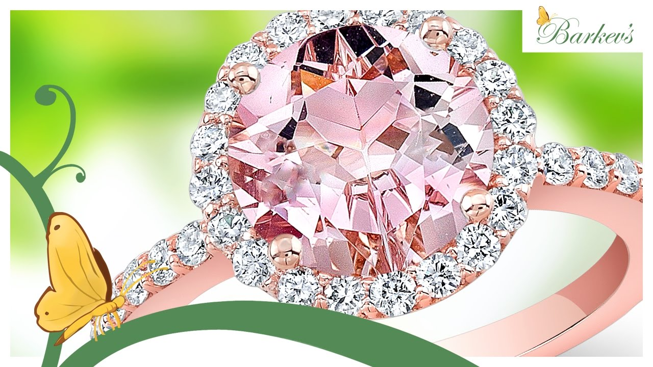 Stunning Pink Morganite Rose Gold Engagement Ring By Barkev\'s - YouTube
