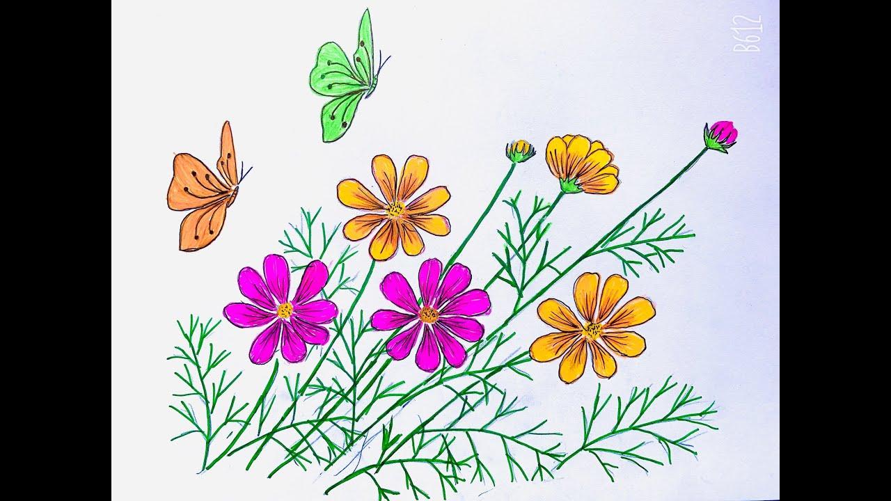 Draw butterfly easy and beautiful/ Vẽ con bướm bên hoa đơn giản và đẹp