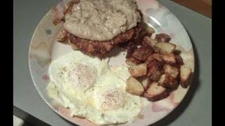 Chicken fried steak and eggs