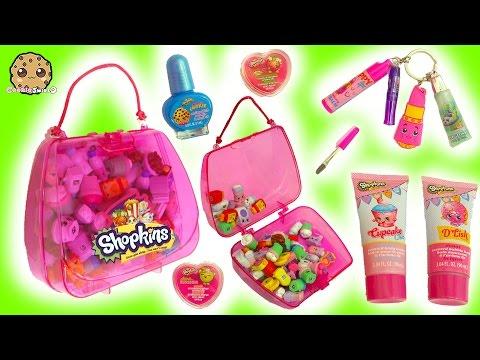 Shopkins Bubble Bath, Nail Polish, Lipgloss Makeup & Handbag Surprise at Makeup Spot Playset