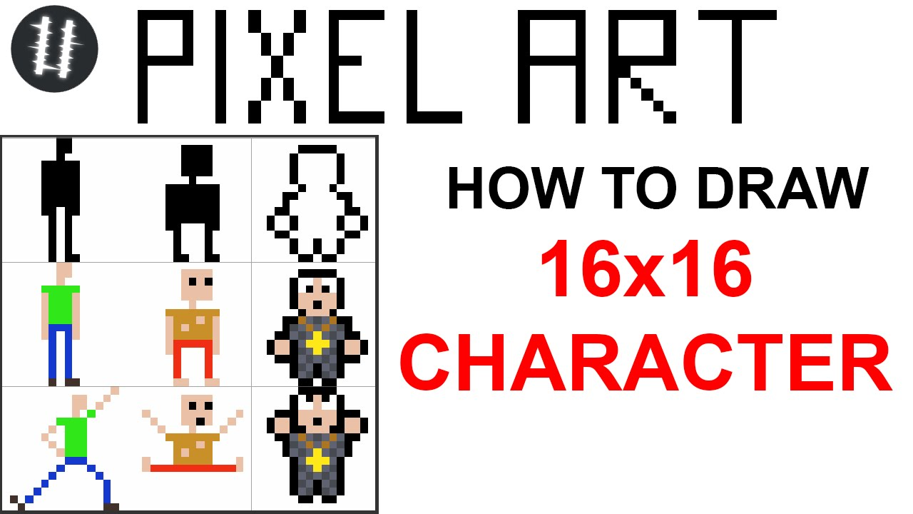 how to pixel art tutorials 6 draw 16x16 character youtube