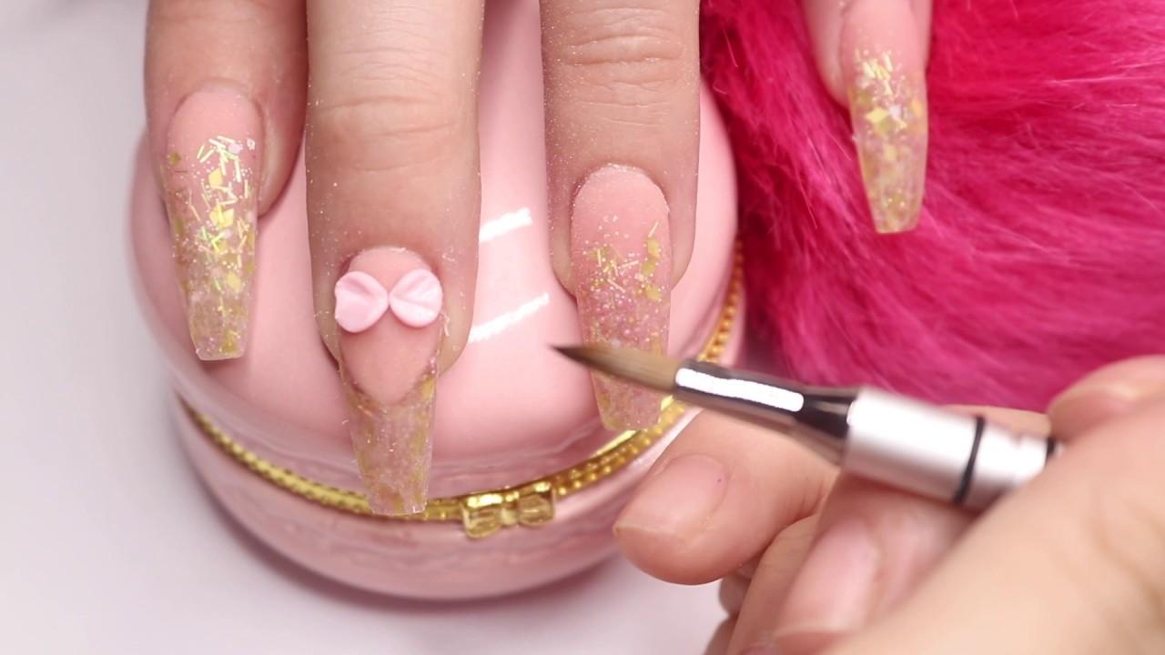 Diseño En Tonos Nude Y Dorados 3d Uñas Acrílicas Colavorativo Con Jan Nails Mx
