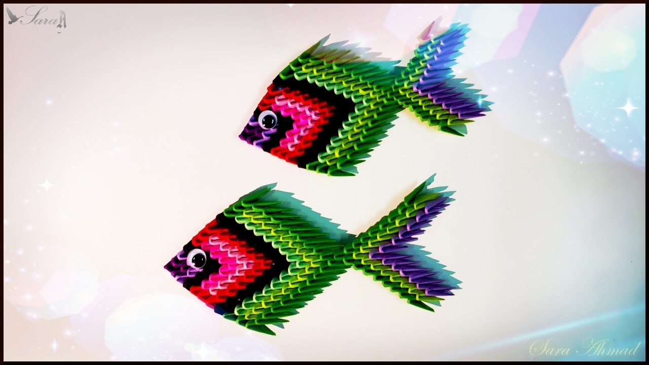 How to make 3d origami fish 3 youtube how to make 3d origami fish 3 jeuxipadfo Images