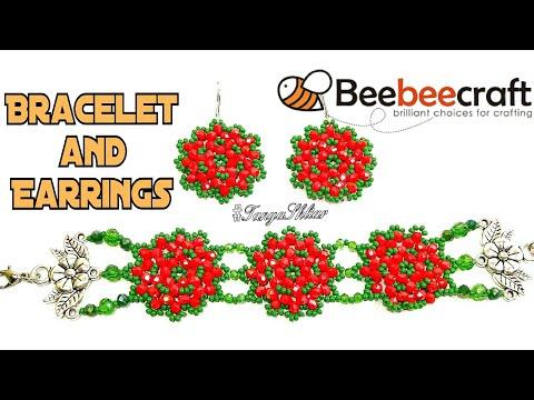 Браслет и Серьги из Бисера МК/Комплект украшений из бисера и ронделей Beaded Jewelry Set/Beebeecraft