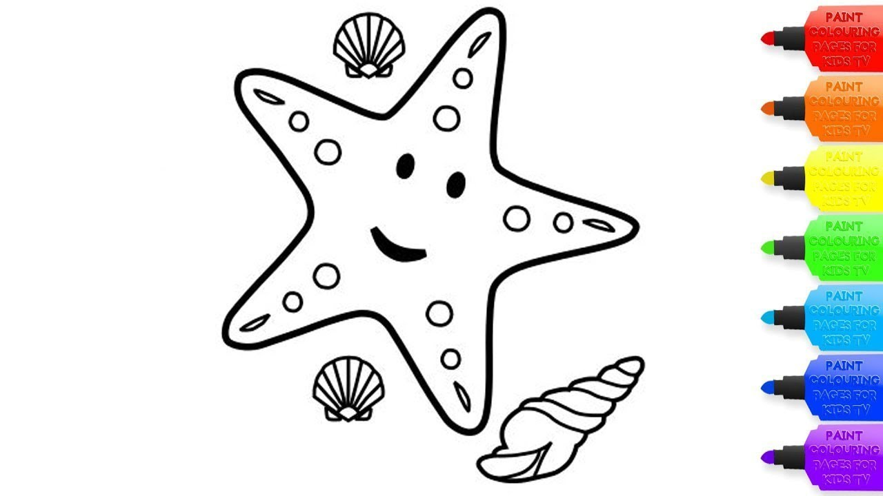 How to draw a Excellent Starfish for kids -Excellent Starfish coloring page  for kids-Coloring Books