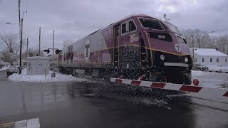 MBTA HSP-46 in the First Snow of Winter