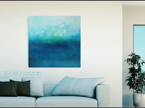 "Etsy Art ""Blue Horizon"" Original Oil Painting Canvas Home Decorating Interior Design DIY"