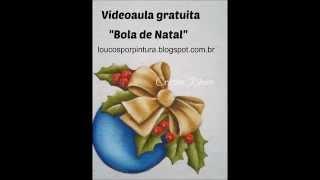 Como pintar Bola de natal com laço – Pintura em tecido – Cristina Ribeiro