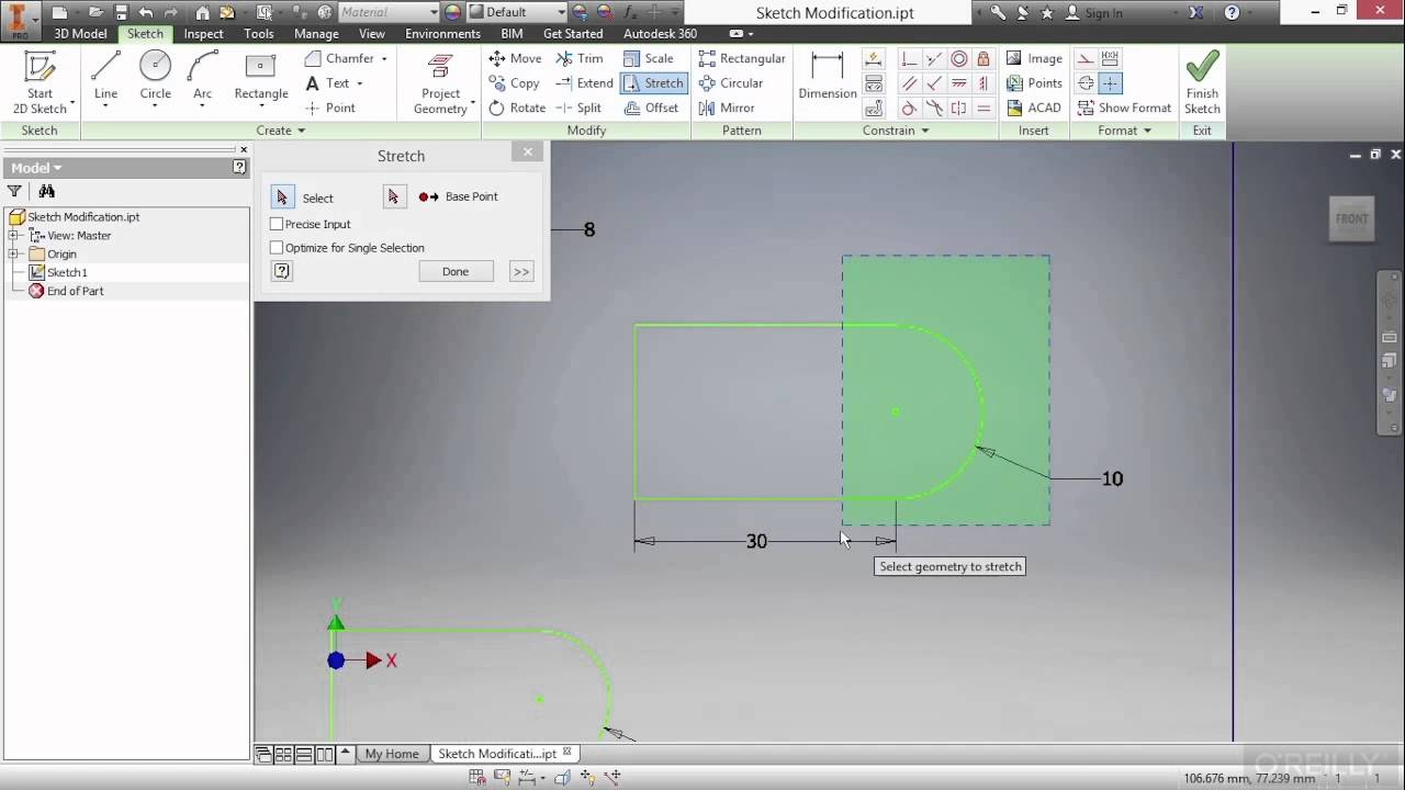 autodesk inventor 2016 tutorial sketch modification youtube. Black Bedroom Furniture Sets. Home Design Ideas