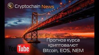 Прогноз курса криптовалют Bitcoin, EOS, NEM. До какого уровня упадет биткоин