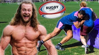 Bodybuilder Tries Rugby, Gets SMASHED