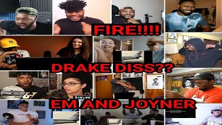 DRAKE DISS?? MEGA COMPILATION Reactors Reacting To Eminem And Joyner Lucas Lucky You