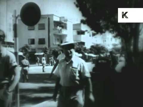 1950s Haifa, Israel, Streets, Market, People, Archive Footage