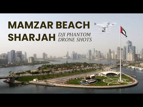 Drone shots of Al Mamzar Beach Sharjah, United Arab Emirates