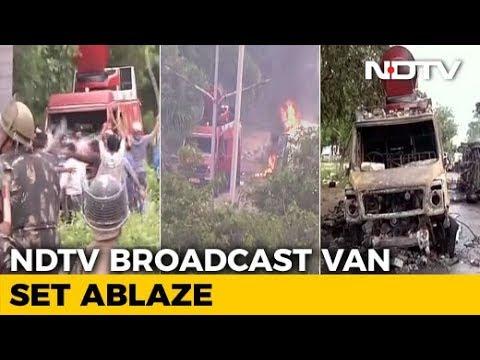 Panchkula: NDTV Live Broadcast Van Set on Fire, Totally Destroyed