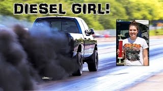 diesel girl smokes the guys blackout winner blue betty dodge cummins 16 diesel drags byron