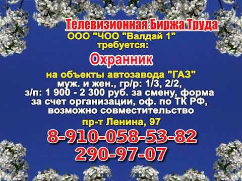 12 марта _14.50_Работа в Нижнем Новгороде_Телевизионная Биржа Труда