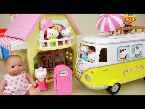 Hello Kitty 2 story house and car toy with Baby doll play