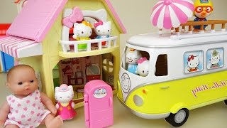 Video Hello Kitty 2 story house and car toy with Baby doll play download MP3, 3GP, MP4, WEBM, AVI, FLV Desember 2017