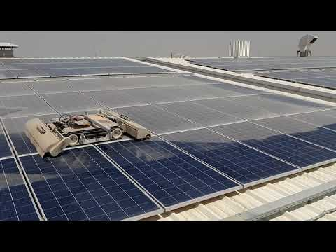 SolarCleano solar panel dry cleaning robot in the Middle East