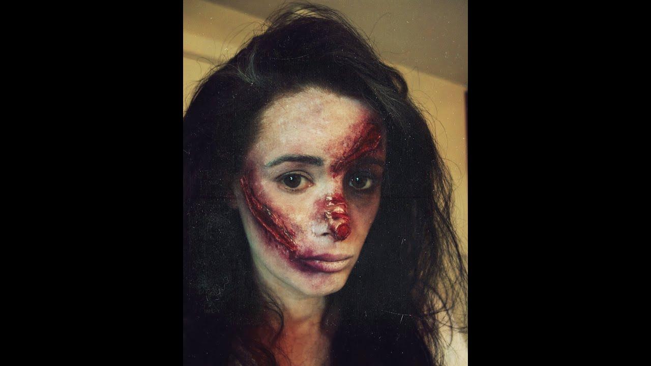 Halloween Makeup - Scars, Burns, Black Eye - YouTube