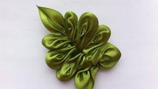Необычный листочек для цветов Канзаши / The  Leaves for the Kanzashi