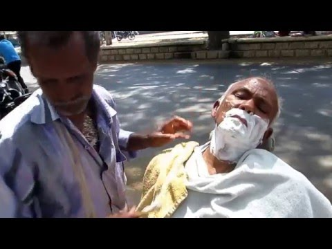 10 Rupees Roadside Shave on street - Rural India -2016