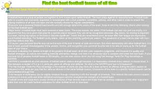 How to : Find the best football teams of all time