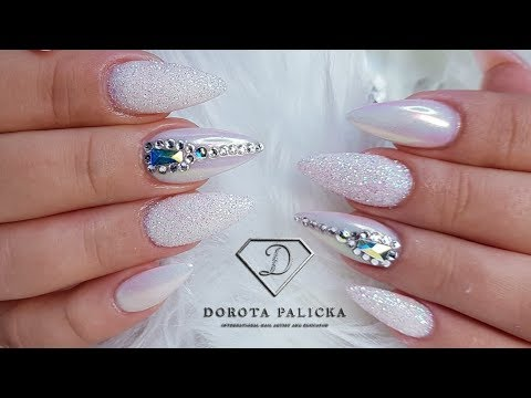 Nail tutorial Milky white with sugar, aurora pigment and Swarovski crystals. Gel infill thumbnail