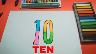 HOW TO DRAW TEN 10 STEP BY STEP FOR KIDS l DRAWING TEN EASY