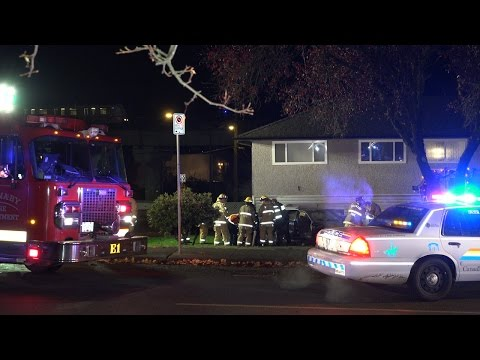 Burnaby Shooting Vehicle Crashed Into House Broadway St. 4K Video