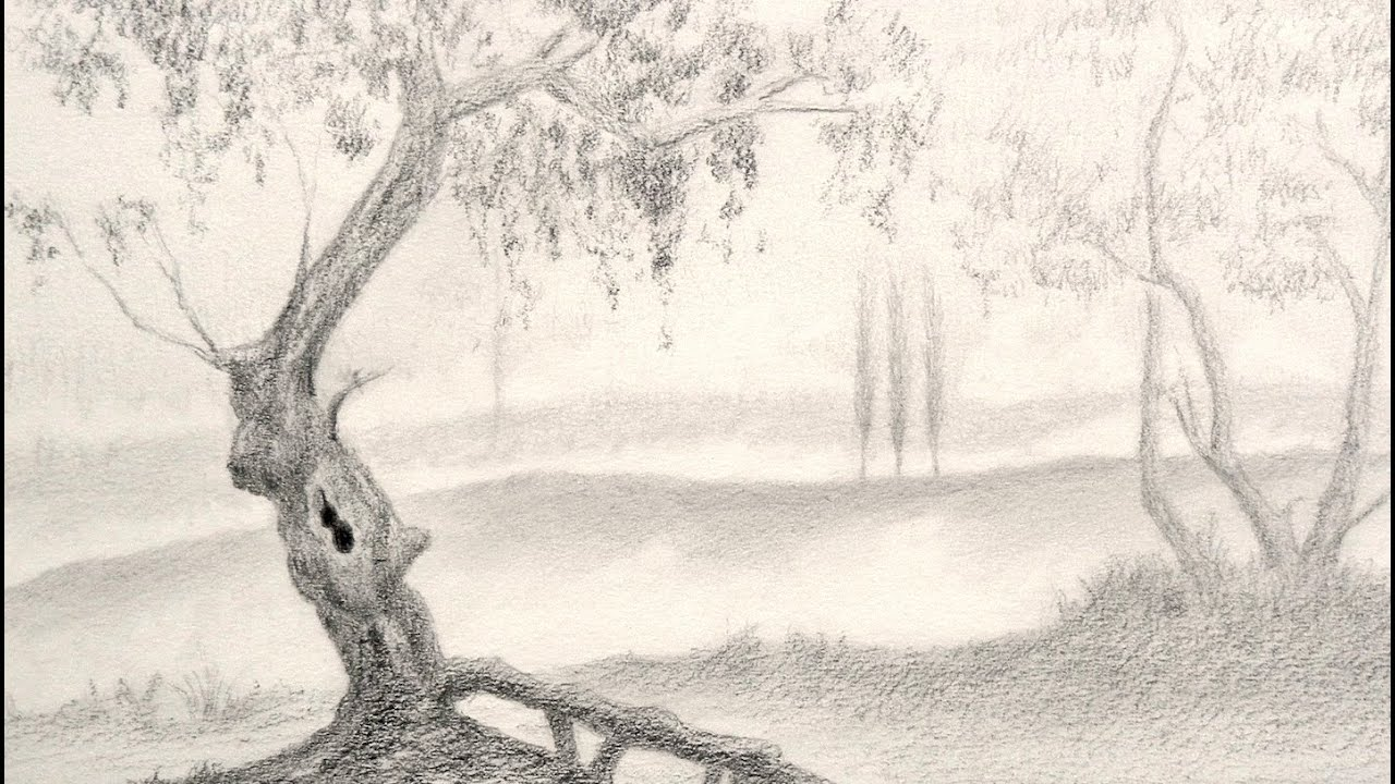 How to draw a tree landscape youtube for Que significa dibujar arboles secos