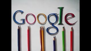 How to draw realistic Google logo in 3d from colour pencil
