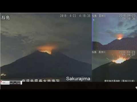 GSM Update 4/23/18 - Mt Sakurajima (桜島) Erupts - UK Cold Blast - Mount Kusatsu-Shirane