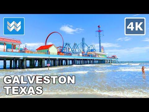 Walking in Galveston Beach in Galveston, Texas USA (South of Houston)   Beach Waves Sounds 🎧【4K】