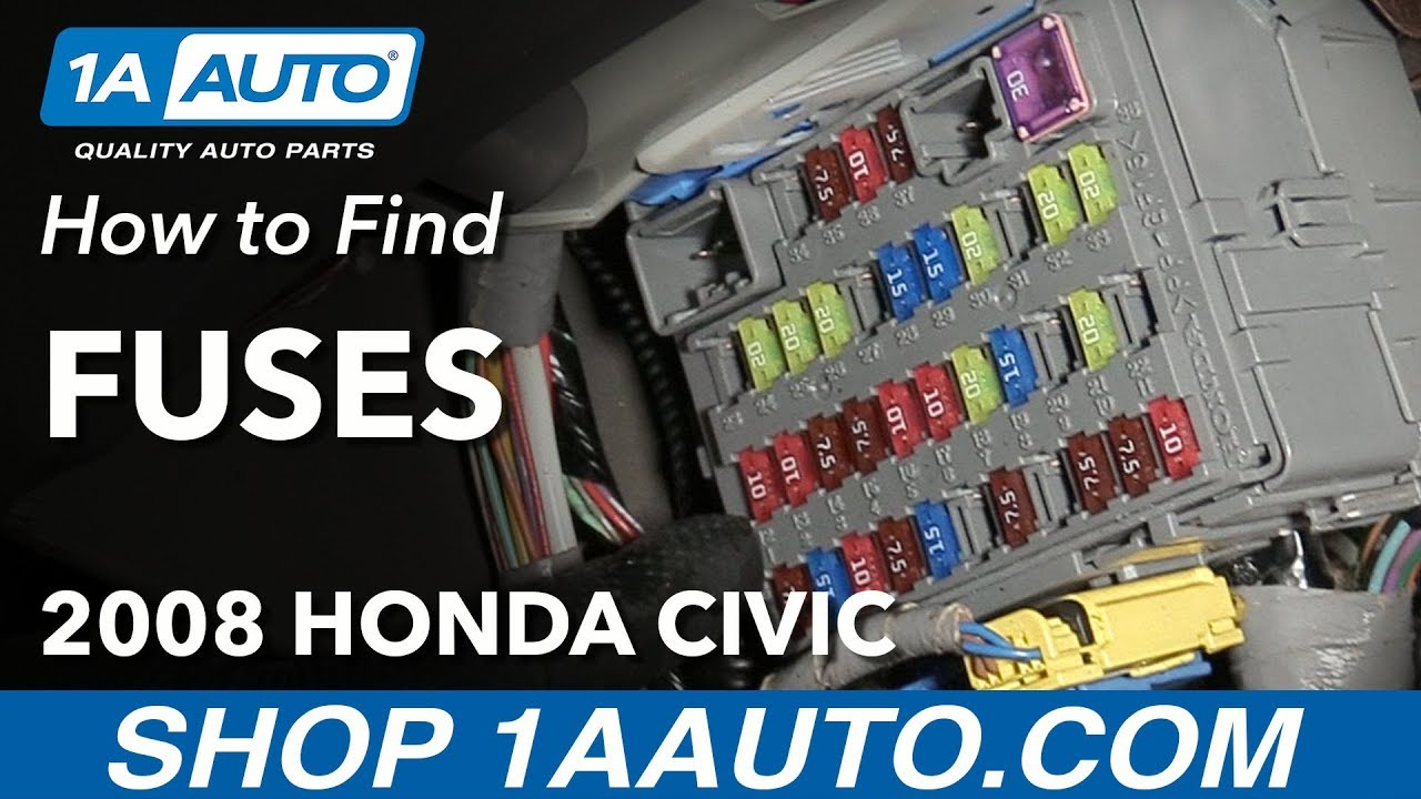 how to locate where to find fuses 2008 honda civic [ 1280 x 720 Pixel ]