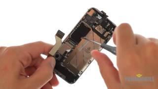 Смотреть видео Замена шлейфа кнопки Home и вибромотора Iphone 4S