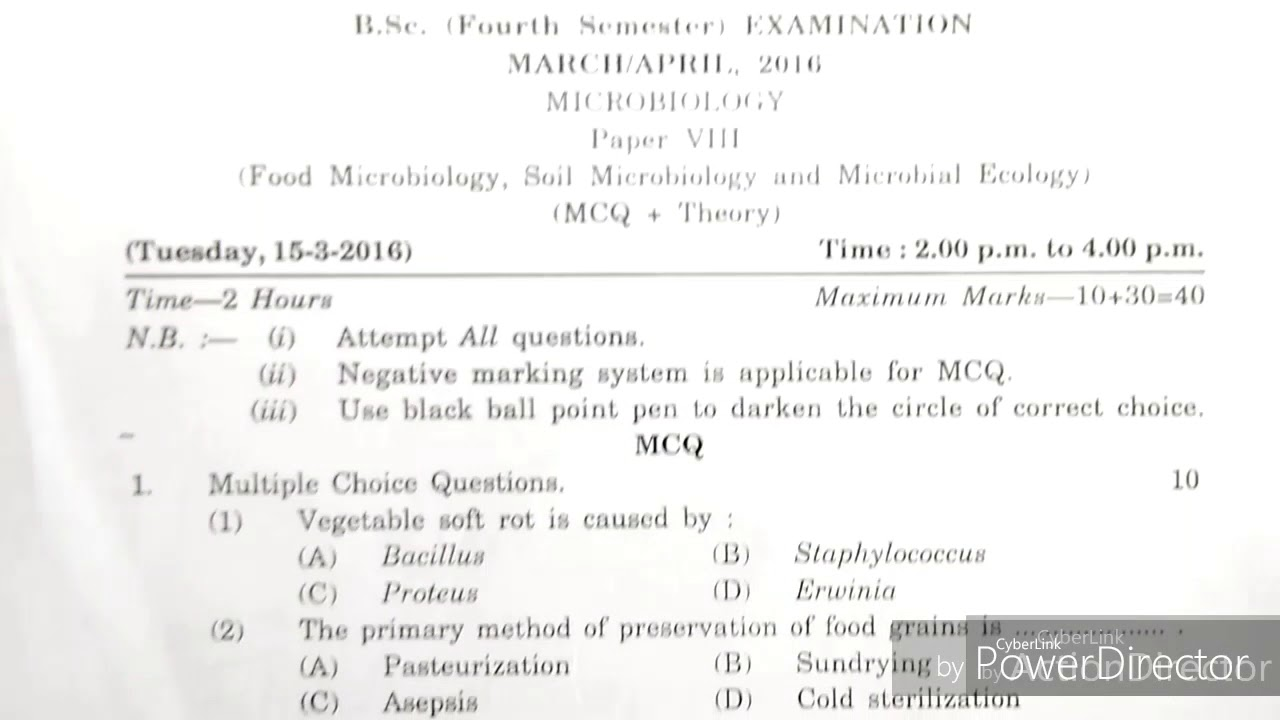 Microbiology Paper VIII B Sc second year(4th sem) March April 2016